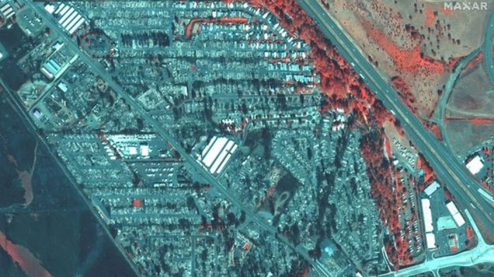 A colour infrared satellite image shows destroyed homes after the Alameda Fire in Phoenix, Oregon, US, on 9 September 2020