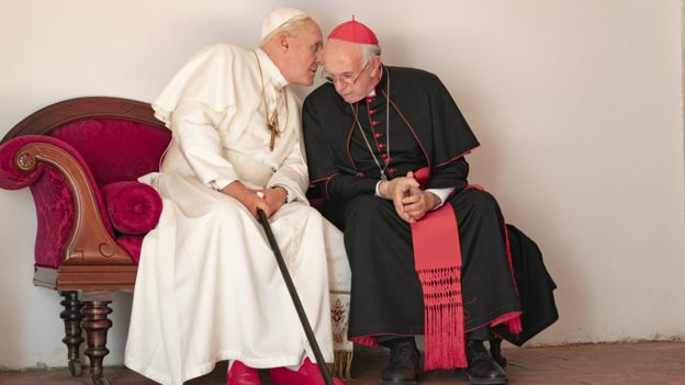 Sir Anthony Hopkins and Jonathan Pryce in The Two Popes