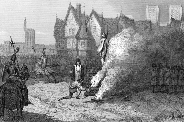 An etching showing the last grandmaster of the Templars, Jacques de Molay, being burned to death in Paris in 1314