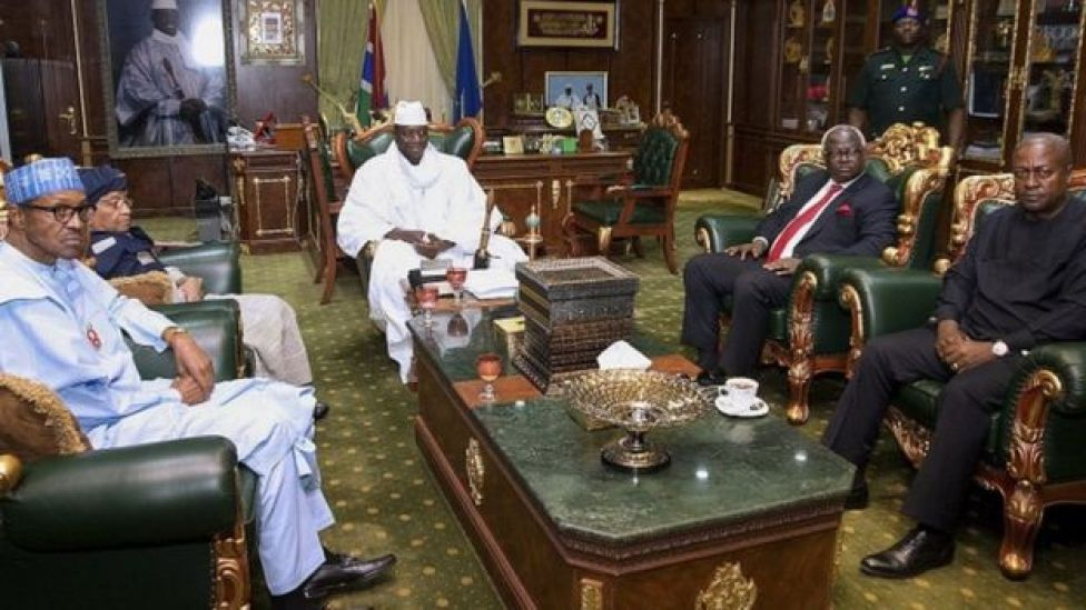 (L-R) President of Nigeria Muhammadu Buhari, President of Liberia Ellen Muhammadu Buhari, President of Gambia Yahya Jammeh, President of Sierra Leone Ernest Bai Koroma and outgoing President of Ghana John Dramani Mahama, during talks at the State House in Banjul, Gambia - 13 December 2016