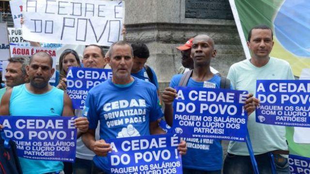 Protesto contra privatização da Cedae, no Rio