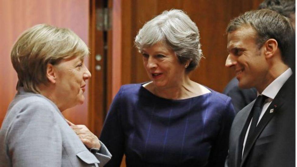 La canciller alemana, Angela Merkel, la primera ministra británica, Theresa May, y el presidente francés, Emmanuel Macron