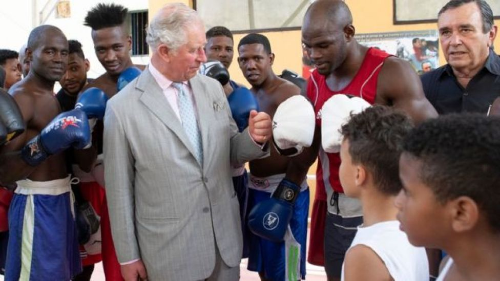 Prince Charles visits the Rafael Boxing gym in Old Havana