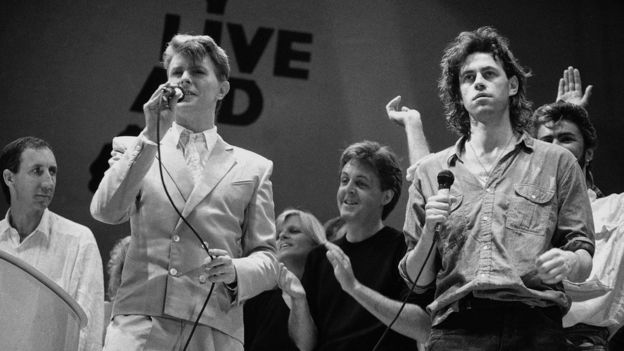Bowie performing at Live Aid, alongside Pete Townshend, Paul McCartney and Bob Geldof