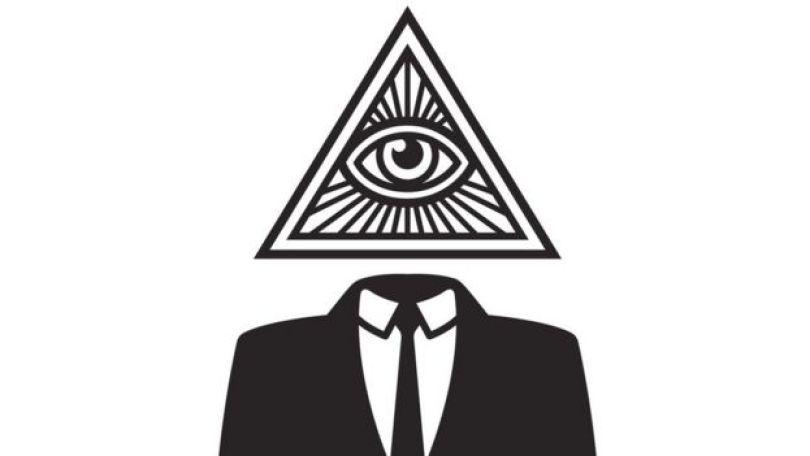 Ilustração mostra torso de homem vestido com terno e cabeça substituída por um símbolo que remente à maçonaria