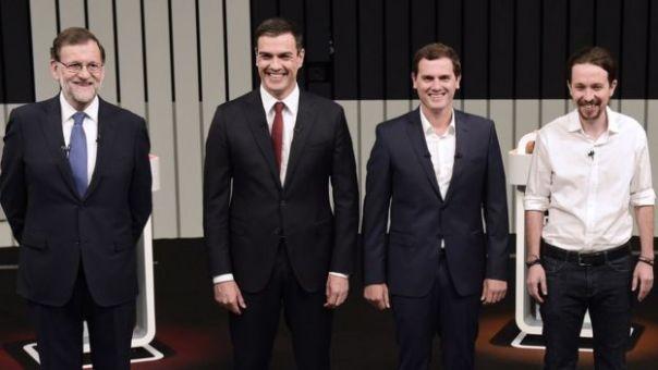 Los cuatro líderes de los cuatro principales partidos españoles