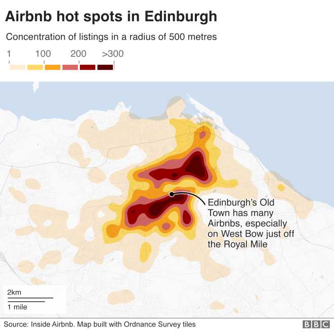 Map showing the Edinburgh areas with most Airbnb listings
