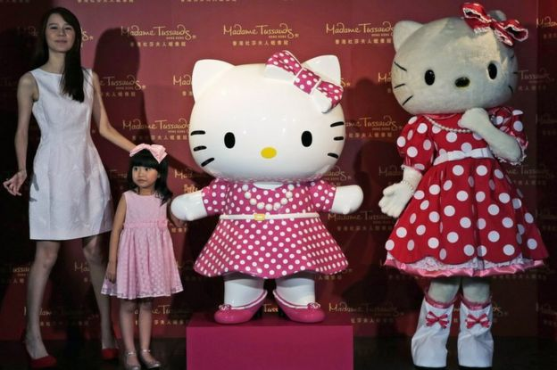 In this 24 July 2014 file photo, a model dressing as Japanese character Hello Kitty, right, along with Hong Kong actresses Priscilla Wong, left, and Celine Yeung, second from left, pose with a new figure of Hello Kitty unveiled at the Madame Tussauds in Hong Kong, to mark the 40th anniversary of the birth of the popular Sanrio character.