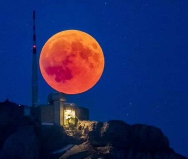 The Blood Moon Rises Behind The Saentis 2502m Alpstein Canton Of Appenzell