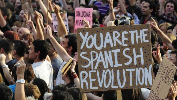 Protesters gather at Puerta del Sol square in Madrid on May 21, 2011 during a protest against Spain's economic crisis and its sky-high jobless rate