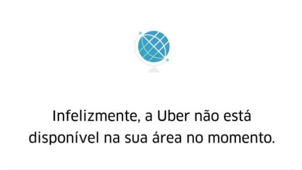 Mensagem de erro enviada a passageiro em bairro onde o Uber não entra