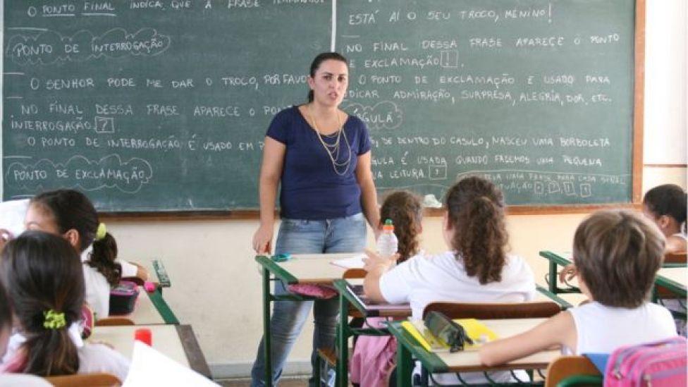 Professora em sala de aula