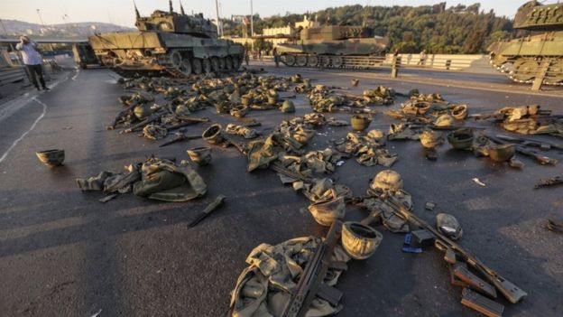 Arms and clothes dumped by Turkish soldiers