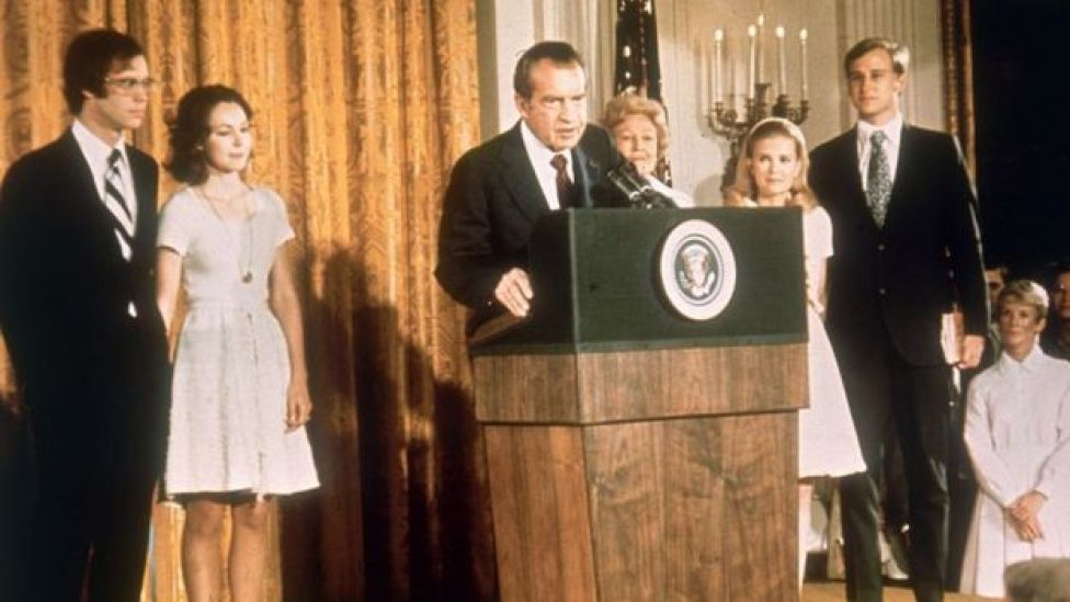 Richard Nixon speaks at the White House shortly after his resignation.