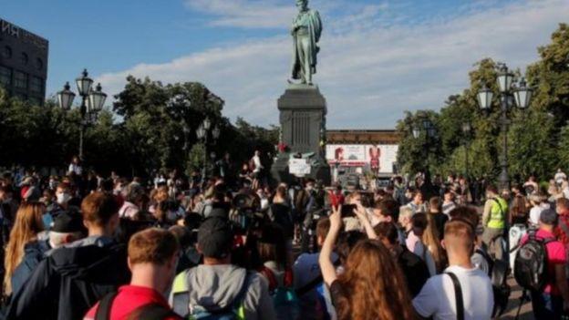 محتجون في روسيا