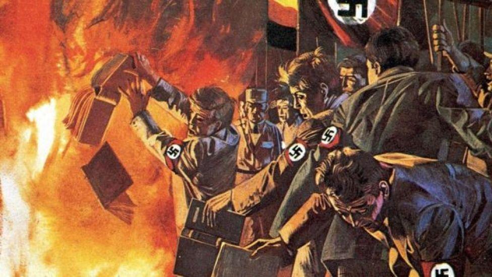 رسم لقوات تابعة لهتلر وهي تحرق بعض الكتب