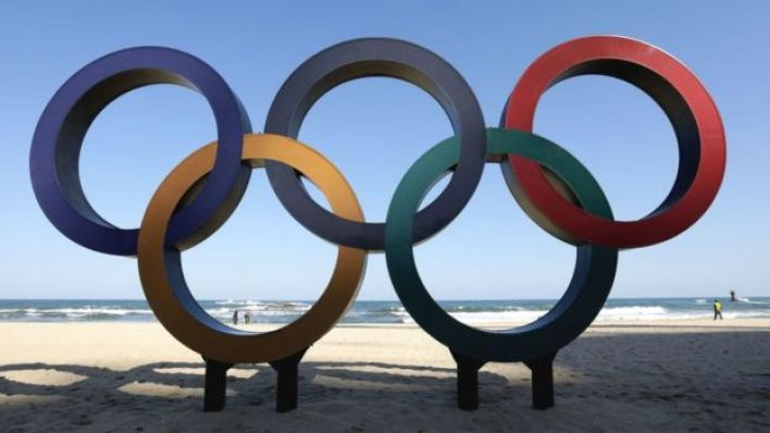 The Olympic Rings being placed at the Gyeongpodae beach, near the venue for the Speed Skating, Figure Skating and Ice Hockey ahead of the PyeongChang 2018 Winter Olympic Games on October 30, 2017 in Gangneung, South Korea.