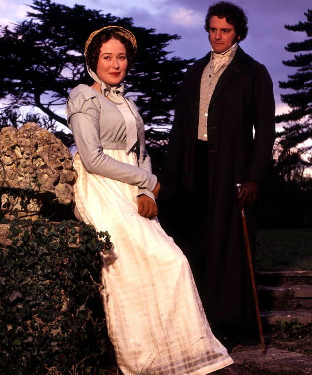 Jennifer Ehle y Colin Firth interpretando a Elizabeth Bennet y Fitzgerald Darcy en la serie de la BBC de 1995.