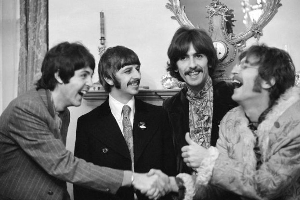 The Beatles at Brian Epstein's home in Belgravia at the launch of Sgt Pepper's