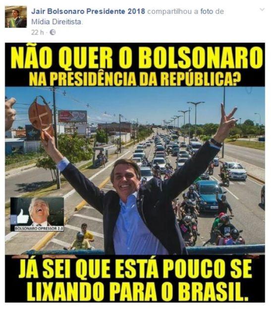 Reprodução de postagem da página Jair Bolsonaro Presidente 2018
