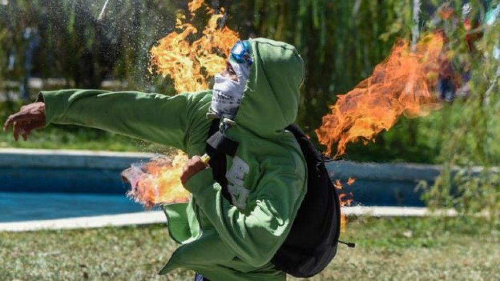 Protesta violenta en Venezuela.
