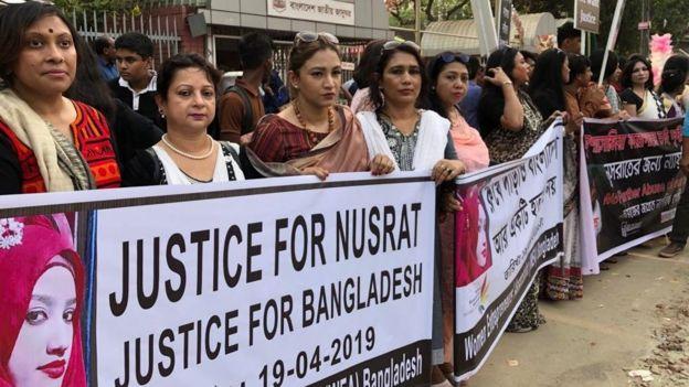 Women protesting outside the court on Thursday