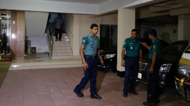 Bangladeshi police at Mr Mannan's building on 25 April 2016