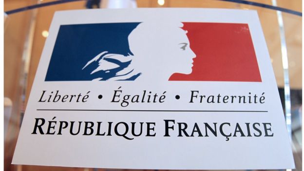 Plaque proclaiming the values of the French Republic