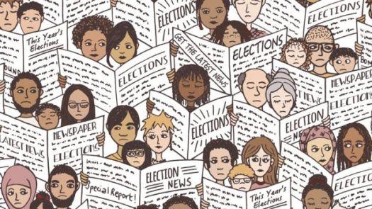Ilustração mostra diversas famílias diferentes lendo jornais