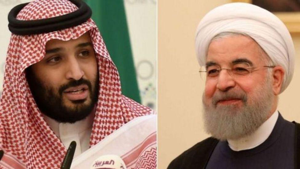 ولي العهد السعودي الأمير محمد بن سلمان (يسار) والرئيس الإيراني حسن روحاني