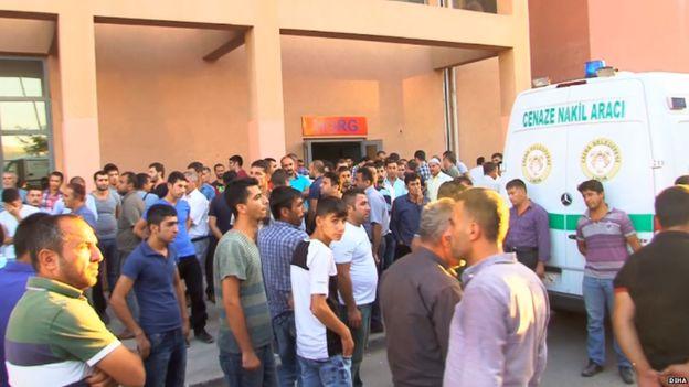 Scene outside hospital in Cizre