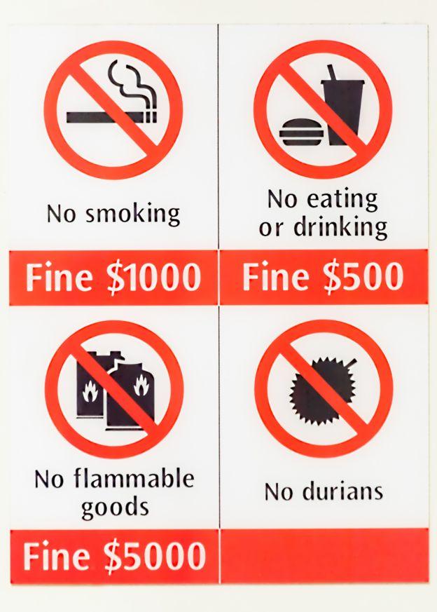 Aviso do metRô de Cingapura com proibição de durião