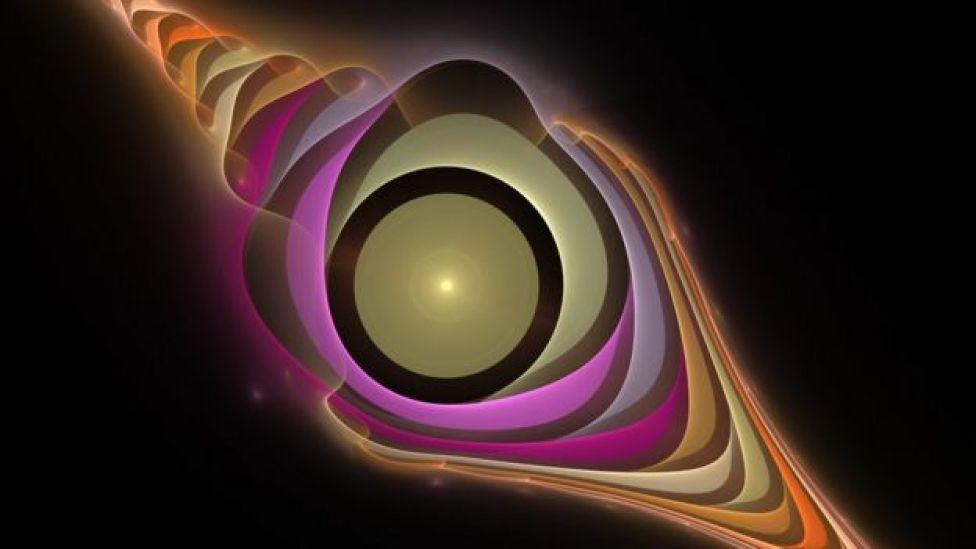 Ilustración figurada de la colisión de partículas espaciales.