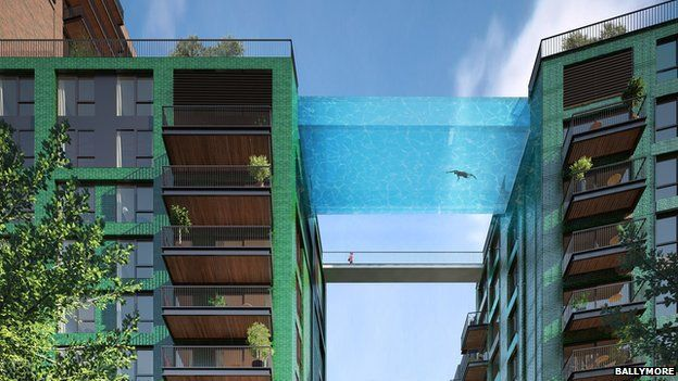 Swimmers will peer down at pedestrians 35m below
