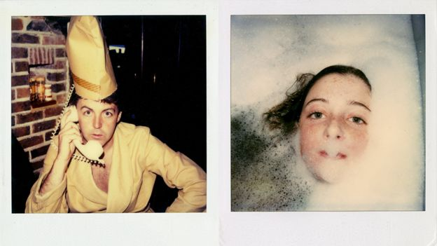 Polaroids showing Paul McCartney on the phone and daughter in the bath