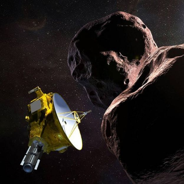 Ilustración de New Horizons en su aproximación a Ultima Thule