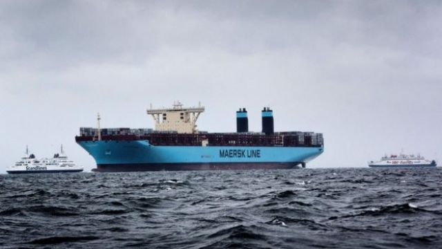 A container vessel operated by Danish shipping group Maersk Tankers near Helsingor, Denmar, 2013