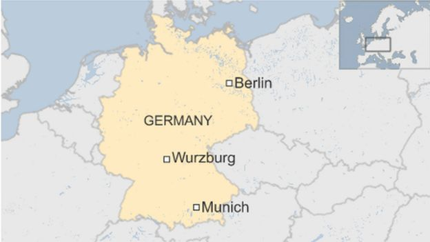 map showing Wurzburg location in central Germany
