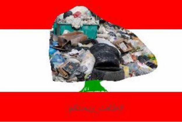 Twitter image depicting the flag of the Lebanon with the tree in the middle replaced by a pile of trash