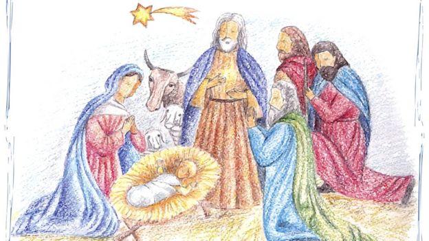 Escena con María, José, niño Jesús y los Reyes Magos