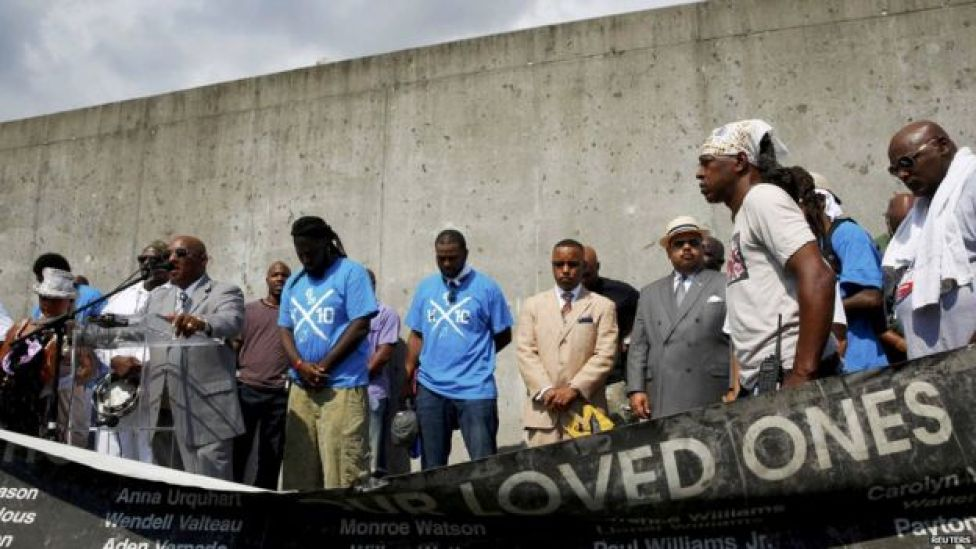 Ceremony at the Lower Ninth Ward levee. 29 Aug 2015