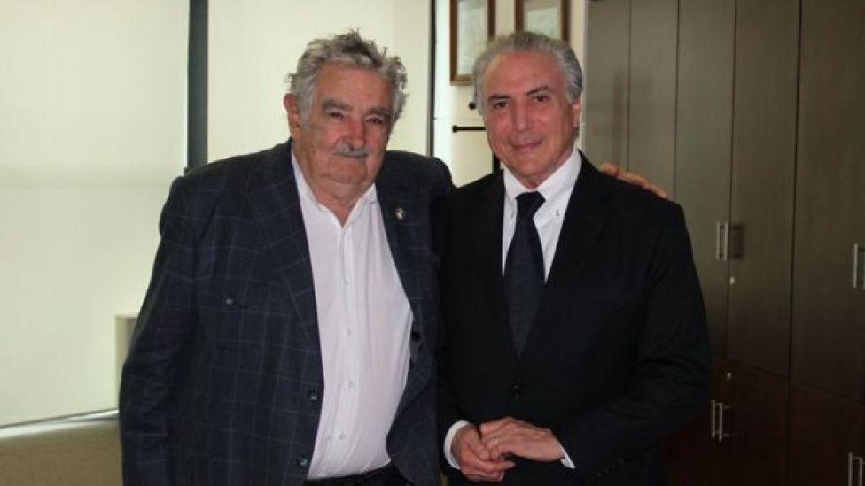 Pepe Mujica e Michel Temer em 2014
