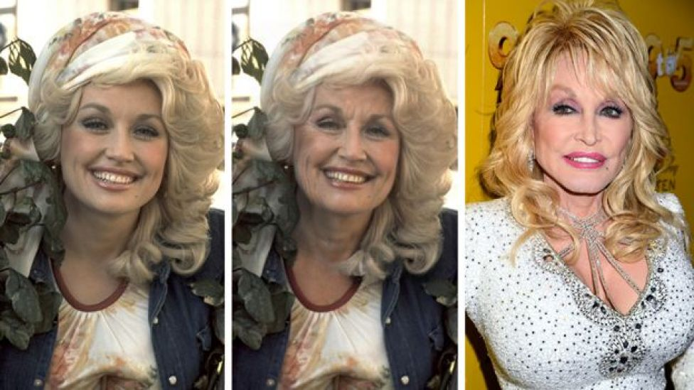 Composite image of Dolly Parton before the app, after it and what she looks like now