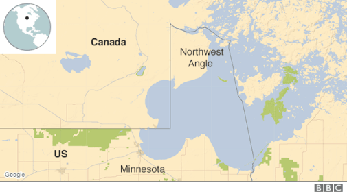 Map showing the location of the Northwest Angle
