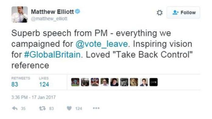 Matthew Elliott: Başbakan'dan süper bir konuşma - ayrılma kampanyasındaki her şey var. #Küreselİngiltere için ilham verici bir vizyon. 'Kontrolü geri alalım' atıfına bayıldım.