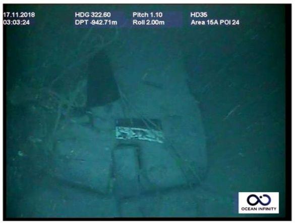 Fotografia divulgada pela Marinha da Argentina, em coletiva de imprensa em 17 de novembro de 2018, mostra destroços do submarino ARA San Juan