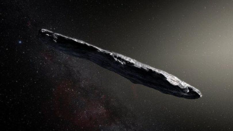 Ilustração de asteroide Oumuamua