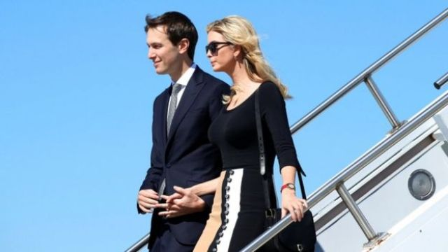 Ivanka Trump and Jared Kushner arrive on Air Force One to accompany U.S. President Donald Trump for his tour of the Boeing South Carolina facility in North Charleston, South Carolina