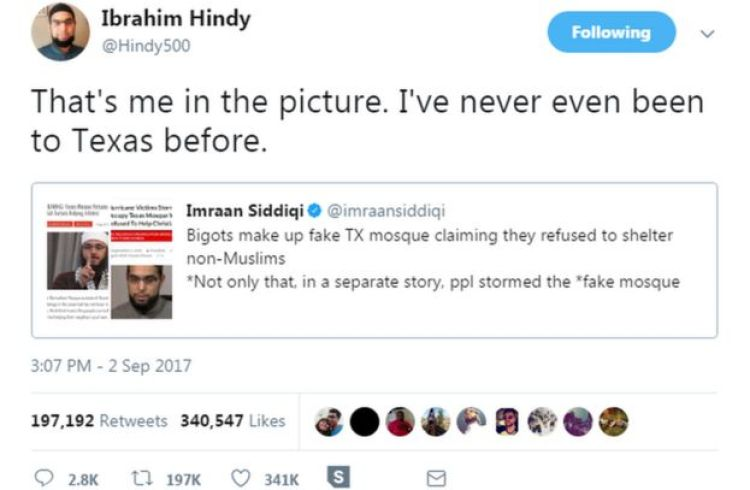 Ibrahim Hindy's tweet pointing out that his photo was being used in the fake story.
