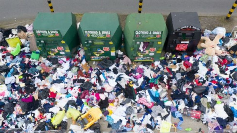 Piles of Recycling and general rubbish lay uncollected at Tesco Extra Store, 1 April, 2020 in Wembley, London.
